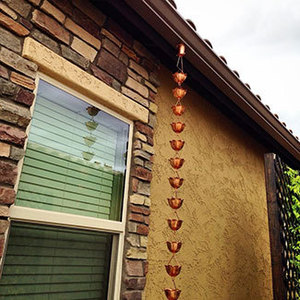 Copper Rain Chain Installed